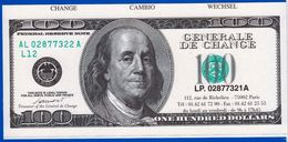 1 SPÉCIMEN VRAIE FAUSSE MONNAIE FRANKLIN 100 ONE HUNDRED DOLLARS FEDERAL RESERVE NOTE GENERAL DE CHANGE FANTAISIE FICTIF - United States Of America
