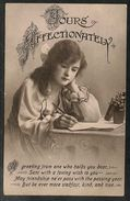 Great Britain - Letter Writer On Greetings Postcard - Posted Cheltenham 1928 - Cartes Postales