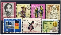 Ein Volk Vietnam Unbesiegbar 1966-1972 DDR 1125,1220,1371,1476,1602,1699+1736 O 3€ Solidarität Set Viet Nam/Germany - [6] República Democrática