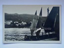 LAURANA LOVRAN ABBAZIA ISTRIA Vecchia Cartolina Barca Vela Pescatori Fischerman AK Croazia 65434 - Croazia