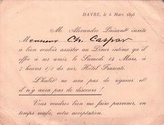 CARTE INVITATION De M ALEXANDRE PAISANT Invite M CH CASPAR A Diner A Hotel FRASCATI Au HAVRE 1896 - Andere