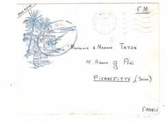 Lettre FM Illustrée Avion Guerre Algérie,Poste Aux Armées  A F N Cachet Vaguemestre De Laugier  SP 854 Section A 1958 - Marcophilie (Lettres)