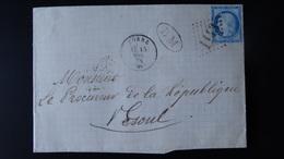France - Lettre Enveloppe - GC 1143 Sur 25c Bleu Cérès - Année 1874 - 1849-1876: Classic Period