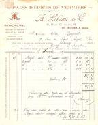 FACTURE 1925 A. LEBEAU & Cie RUE DE CHANZY ROUBAIX NORD - PAINS D'ÉPICES DE VERVIERS - ABEILLE - ROYAL AU MIEL - Food