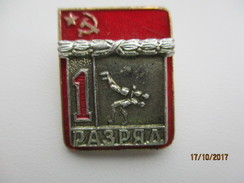 RUSSIA USSR ,  WRESTLING ,   1st CLASS SPORTSMAN PIN BADGE , 0 - Wrestling