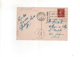 Flamme De Le Mans Gare ( LE MA164 ) Sur Carte Postale , Postcard Du 1 IX 1938 - Briefe U. Dokumente