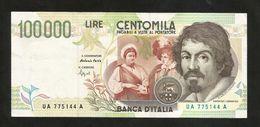 """ITALIA - BANCA D' ITALIA - 100000 Lire """"CARAVAGGIO"""" - II° Tipo (Firme: Fazio / Speziali) REPUBBLICA ITALIANA - [ 2] 1946-… : Républic"""