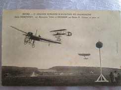 Reims  ; Emile Dubonnet Sur Monoplan Tellier Et Dickson Sur Biplan H - Avions