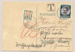 Schweiz - 1934 - 15 Cent Portomarke On Postkarte From Ilmenau / Deutsches Reich - Strafportzegels