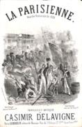La Parisienne, Marche Nationale De 1830, Partition Ancienne, Petit Format, Couverture Illustrée Donjean. - Scores & Partitions