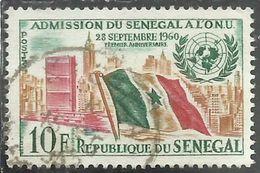 SENEGAL 1962 1st Anniv. Of Senegal's Admission To UN FLAG 10f USATO USED OBLITERE' - Senegal (1960-...)