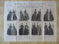 PUB MODE SUR PAPIER FIN / TOULOUSE GRANDS MAGASINS LAPERSONNE / ROBES ET COSTUMES FEMMES / SAISON HIVER 1886 1887 1 E9 - Werbung