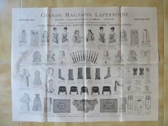 PUB MODE SUR PAPIER FIN / TOULOUSE GRANDS MAGASINS LAPERSONNE / CORSETS TOURNURES LINGERIE SAISON HIVER 1886 1887 2 E9 - Advertising