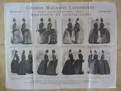 PUB MODE SUR PAPIER FIN / TOULOUSE GRANDS MAGASINS LAPERSONNE / MANTEAUX ET CONFECTIONS SAISON HIVER 1886 1887 4 E9 - Advertising