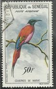SENEGAL 1960 AIR MAIL POSTE AERIENNE FAUNA Carmine Bee-eater GUEPIER DE NUBIE 50f USATO USED OBLITERE' - Senegal (1960-...)