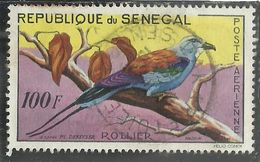 SENEGAL 1960 AIR MAIL POSTE AERIENNE FAUNA Abyssinian Roller ROLLIER 100f USATO USED OBLITERE' - Senegal (1960-...)