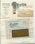 ENVELOPPE COMMERCIALE AVEC DOCUMENT - APERITIF A LA GENTIANE SUZE - MAISONS ALFORT - Postmark Collection (Covers)