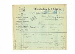 Avoir - Manufacture De  L'ALFENIDE - PARIS - Henri Harleux - Orfèvrerie Métal Gombault Gallia Métal 1903 - Petits Métiers