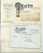 ENVELOPPE COMMERCIALE AVEC DOCUMENT - APERITIF A LA GENTIANE SUZE - ROUEN - Postmark Collection (Covers)