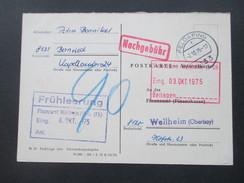 BRD 1975 Postkarte / Antwortkarte An Das Finazamt Weilheim (Oberbayern) Nachgebühr Stempel. Frühleerung - BRD