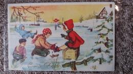 CPSM ENFANTS JOUANT SUR LA GLACE PATINS BONNE ANNEE 1961 - Dessins D'enfants