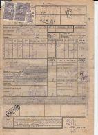 REVENUE STAMPS, PERFINS, WAYBILL, TRAIN TRANSPORT, SUCEAVA-CAMPULUNG MOLDOVENESC, BUKOVINA, 1943, ROMANIA - Perfins