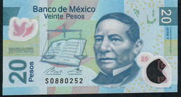Mexico P122n   20 Pesos 12.7.2016 Serie  Y.    VF Folds - México