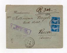 !!! PRIX FIXE : ARMEE SERBE A SALONIQUE, PAIRE DU 25C SEMEUSE SUR LETTRE POUR LA SUISSE, CACHET TRESOR & POSTES 504 - Postmark Collection (Covers)