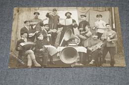 RARE,Stockem,originale,Belle Carte Photo Ancienne,groupe De Musiciens Avec Militaires,époque Guerre 14-18 - Arlon