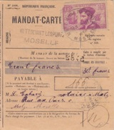 Mandat-carte (1406) Obl. Metz Devant Les Ponts 06/11/34 Sur N° 296 (75c J. Cartier Rose) Pour Metz - Alsace-Lorraine