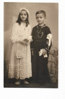 FOTO BAMBINI PRIMA COMUNIONE U. ECCLESIA ASTI   SU CARTA FERRANIA  ANNI 40  NV FP - Photographs