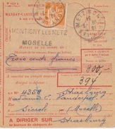 Mandat-carte (1418 A) Obl. Montigny Les Metz 10/07/34 Sur N° 286 (1F Orange Type Paix) Pour Sierck - Elzas-Lotharingen