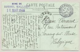 Tunesie - 1908 - 2x 5 Cent Stamp On Postcard From Souk-El Khemis To Seraing / België - Tunesië (1888-1955)