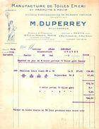 FACTURE 1925 DUPERREY RUE PARADIS PARIS - USINE A PANTIN - MANUFACTURE DE TOILE ÉMERI - STATUE DE LA LIBERTÉ LIBERTY - Drogerie & Parfümerie
