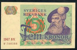 SWEDEN P51 5 Kronor 1967 Unc.. - Suède