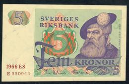 SWEDEN P51a  5 Kronor 1966 Unc... - Suède