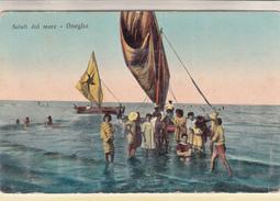 Saluti Dai Mare-Oneglia_ (Rara)_Animazione In Mare E Vele-Vg Il 20.7.1916-ORIGINAL-2 Scan- - Imperia