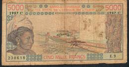 W.A.S. BURKINA FASO  P308Cj  5000 Francs 1987  Fine - Stati Dell'Africa Occidentale