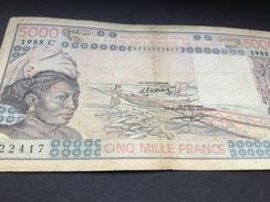 W.A.S. BURKINA FASO  P308Ck 5000 Francs 1988  Fine - États D'Afrique De L'Ouest