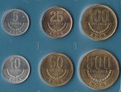 COSTA RICA COIN SET 6 MONNAIES: 5 COLONES - 500 COLONES 2003 - 2007 - Costa Rica