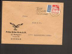 Bizone Bauten 20 Pfg.m.Notopfer 1949 A.Brief V.Stuttgart M.Serienstempel Fasse Dich Kurz Am Fernsprecher - Zone Anglo-Américaine