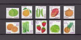 Japan 2015 - Vegetables & Fruits 3, 52 & 82 Yen, Used Stamps, Michelnr. 7166-75 - Gebruikt