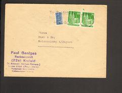 Bizone Bauten 2 X 10 Pfg.m.Notopfer 1949 A.Brief V.Krefeld M.Serienstempel Vergiß Nicht Straße Und Hausnummer Anzugeben - Bizone