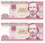 PAREJA CORRELATIVA DE CUBA DE 100 PESOS DEL AÑO 2014 DE CARLOS MANUEL DE CESPEDES EN CALIDAD EBC (XF) (BANKNOTE) - Cuba