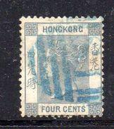 T298- HONG KONG 1882 ,  4  Cents  Grigio Usato . Fil CA - Hong Kong (...-1997)