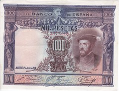 BILLETE DE ESPAÑA DE 1000 PTAS DEL AÑO 1925 DE CARLOS I CALIDAD EBC  SIN SERIE (BANKNOTE) - 1000 Pesetas