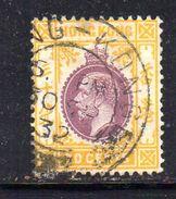 T622 - HONG KONG 1921 ,  30 Cents  Yvert N. 126 Usato . Fil Corsivo Multi CA . - Hong Kong (...-1997)