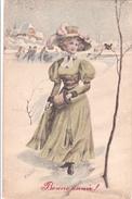 CPA Vienne ASV Série 345 Viennoise Femme Lady Mode Chapeau Patinage Patins à Glace Bonne Année Illustrateur (2 Scans) - Illustrateurs & Photographes