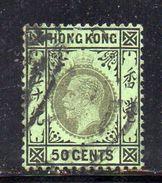 T626 - HONG KONG 1912 ,  50 Cents  Yvert N. 109 Usato . Fil  Multi CA . - Hong Kong (...-1997)