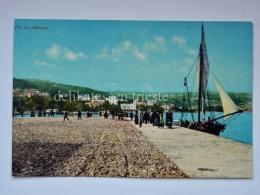 ABBAZIA QUARNERO ISTRIA Vecchia Cartolina Barca Vela Animata Molo AK Croazia - Croazia